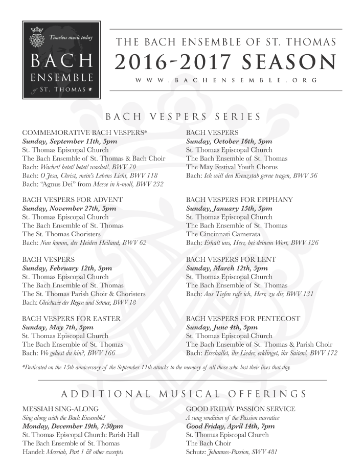 Bach Ensemble BEST Season 2016-17